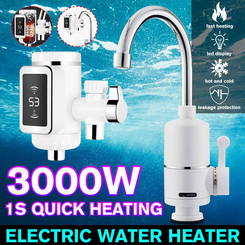3000W LED Display Tankless Water Heater Electric Kitchen Water Heating Tap Instant Hot Water Faucet Heating EU Pulg 220V