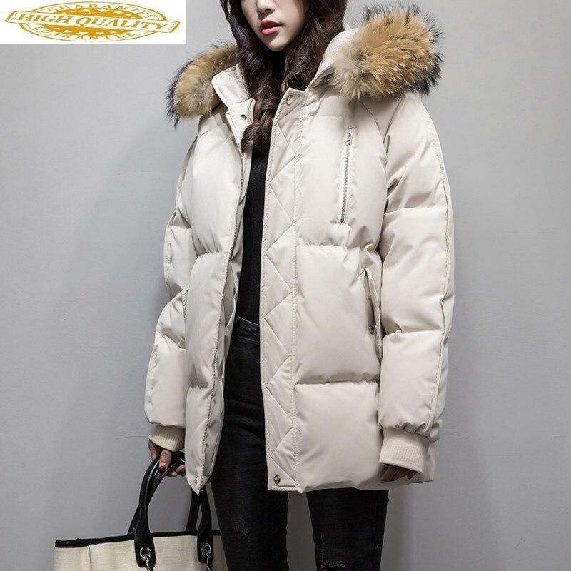 2020 Duck Down Jacket Woman Hooded Warm Winter Coat Women Raccoon Fur Collar Koran Fashion Women's Down Jackets KJ2615