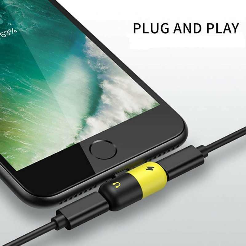 Dla Apple ładowania Audio słuchania połączeń złącze dla iphone X 8 7 Plus XS XR światła ing adapter słuchawek AUX Splitter
