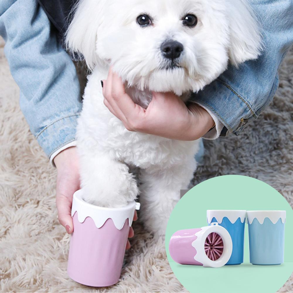 Dog Cat Foot Washer Portable Pets Paw Cleaner Cup Puppy Kitten Dirty Paw Quickly Cleaning Cups Soft Silicone Pet Foot Wash Tool