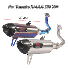 Slip On Exhaust System Pipe Moto Header Front Mid Link Pipe With Exhaust Muffler Tail Pipe For 2017-2019 Yamaha XMAX 250 300 xmax 300 laser logo akrapovic exhaust pipe carbon fiber muffler exhaust pipe for yamaha xmax 250 300 cc 2017 18