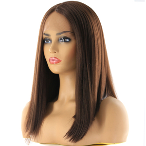 Image 2 - Medium Brown Synthetic Hair Lace Front Wigs High Temperature Fiber X TRESS Yaki Straight Short Bob Blunt Lace Wig Middle Part