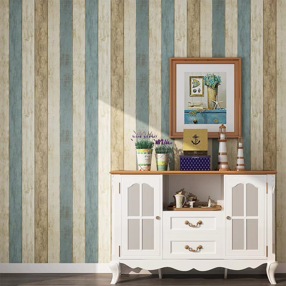 Wood Stripe Wallpaper Brick 3d Wallpapers Self Adhesive For Bedroom Living Room Home Decor Kids Room Wall Sticker Pink Blue Grey