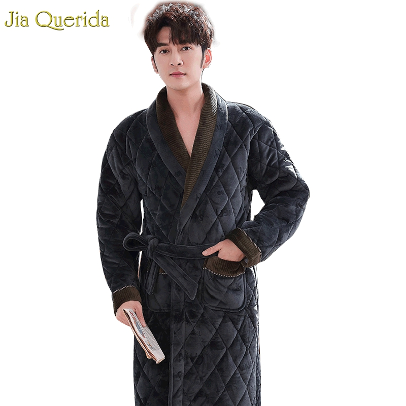 Mens Bath Robes Long Winter Thick Cozy Housecoat Luxury Velvet Kimono 3 Layer Padded Thick Warm Dress Gown Winter Bathrobe Male