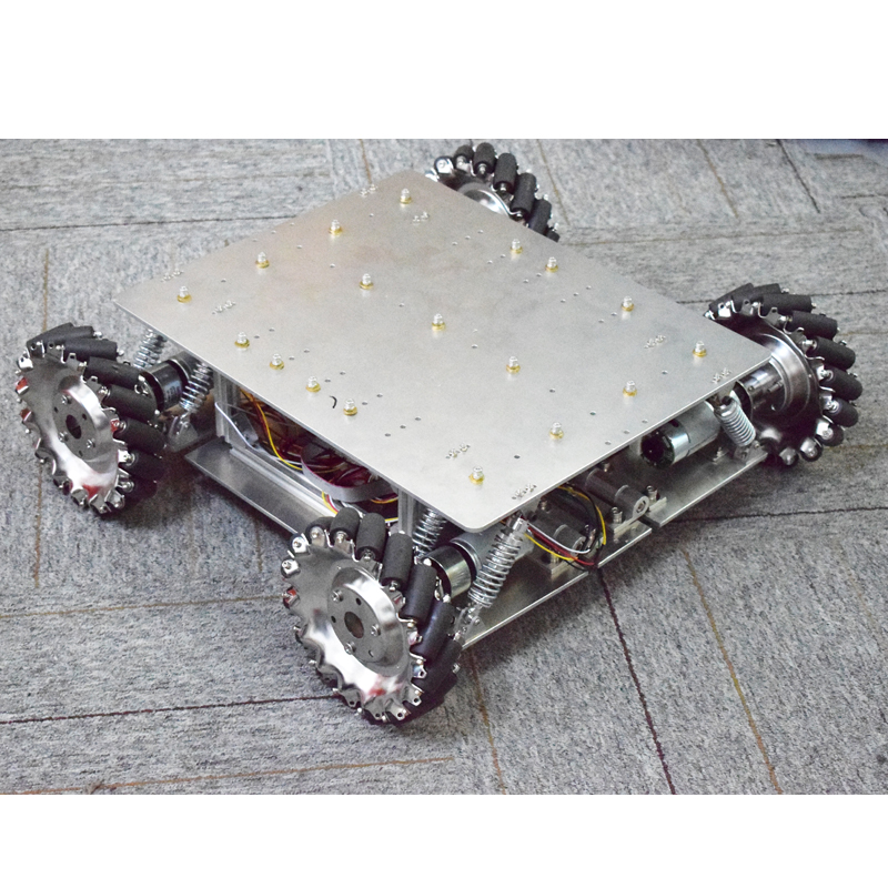 40KG Load Shock-absorbing Suspension Omni Mecanum Wheel Robot Car Chassis Platform With 4pcs 24V Motor Arduino Controller