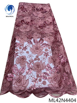 BEAUTIFICAL african lace fabrics beads and sequins french sewing net lace fabrics beads wedding lace material for women ML42N44