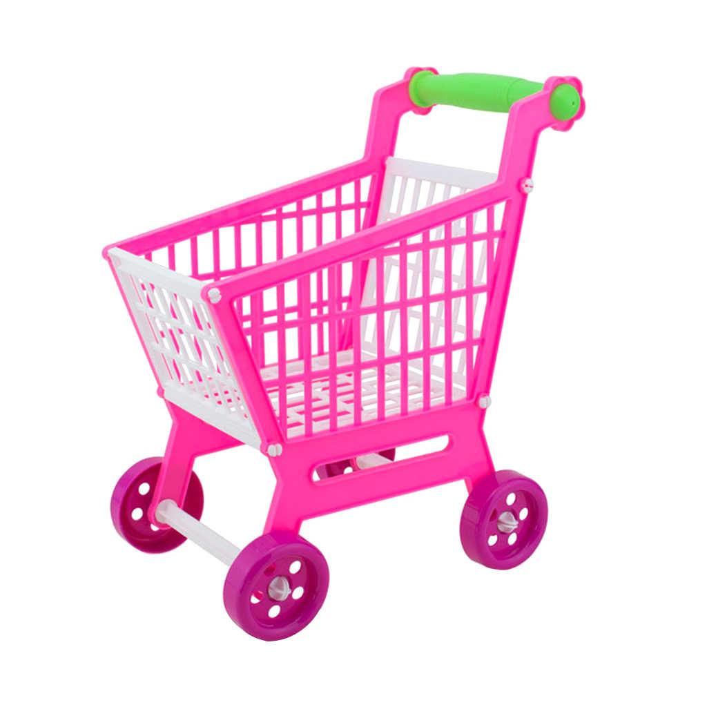 Mini carrinho plástico do trole da mão da compra das crianças para o brinquedo do jogo do papel do desenvolvimento