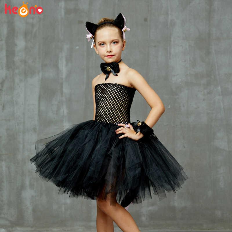 Ladies WITCHES BLACK CAT Girls Fancy Dress Halloween Costume Accessory TUTU Set