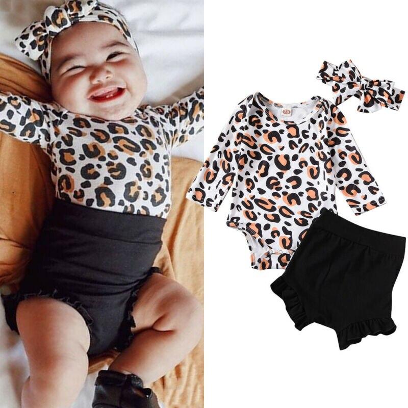0-24 meses Ropa de niña recién nacida 3 uds. Trajes de mono leopardo pantalones cortos negros diadema Ropa para Niñas Sombreros lindos de corona de Hospital para bebés recién nacidos niñas niños gorros de punto de algodón suave sombreros blanco de Color sólido para niños regalos