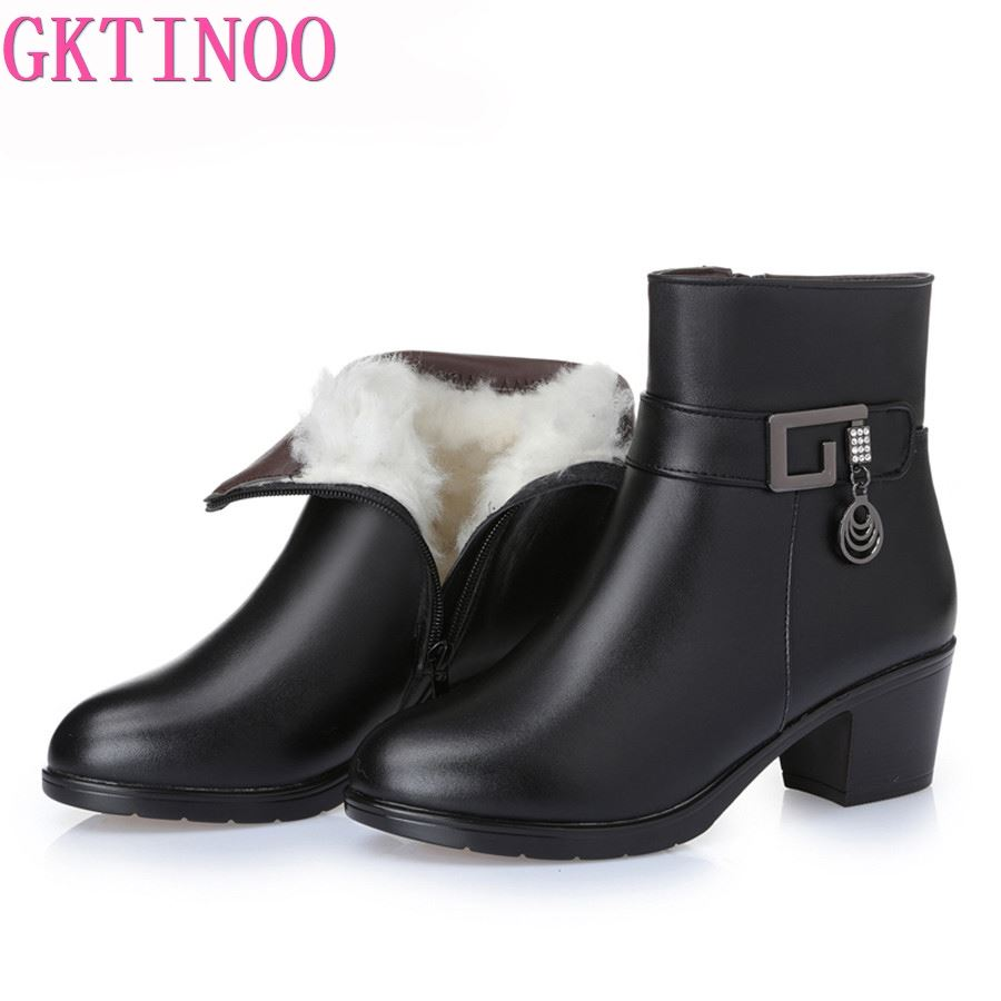 GKTINOO Women boots women genuine leather boots Genuine Leather high-heeled ankle boots thick wool winter snow boots