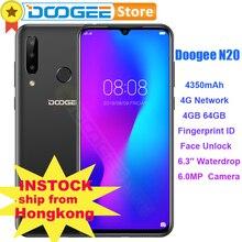 DOOGEE N20 cep telefonu 6.3 inç ekran 64GB 4GB parmak izi yüz kimlik 16MP 8MP 8MP üçlü arka kamera Octa çekirdekli 4350mAh Smartphone
