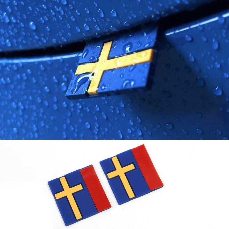 2-100 Pcs Car Styling Sweden Flag Rubber Decor 3D Sticker Emblem Front Grille Trunk For VOLVO XC40 XC90 V90 S90 XC60 C70 V70 V50
