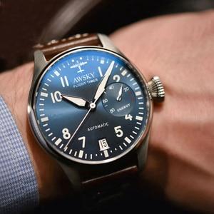 Image 1 - 2019 yeni erkek otomatik Pilot saatler çapı 41.5mm safir kristal 50m su geçirmez moda paslanmaz çelik erkek kol saati