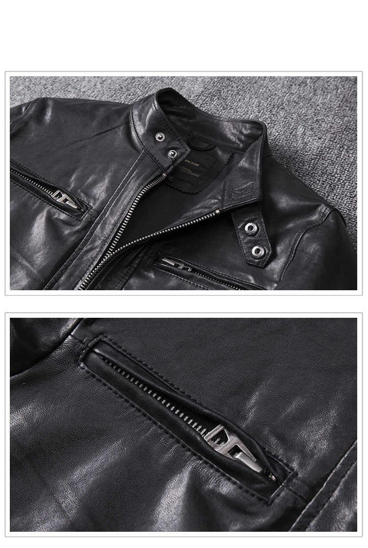 春の男性黒の本革のコートのジャケット本物の第一層羊皮 4XL 新服男性爆撃機ジャケット