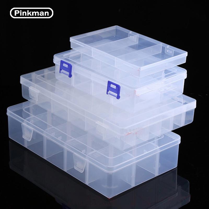 Regolabile Trasparente Scatola di Plastica Scatola di Immagazzinaggio per il Terminal Piccola Componente Strumento di Gioielli Tallone Pillole Organizzatore Unghie Artistiche Punta Caso