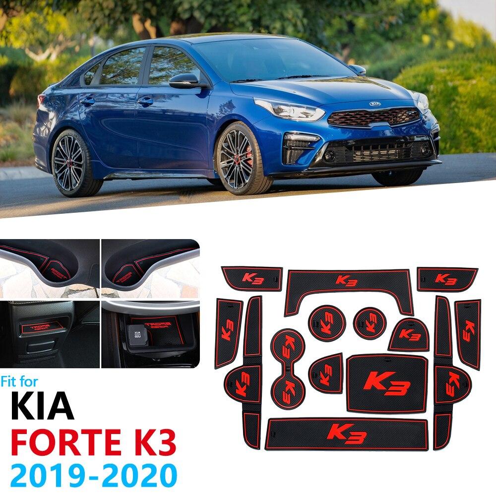 Anti-Slip Rubber Gate Slot Cup Mat For KIA Forte 2019 2020 BD Cerato K3 Vivar Door Groove Mat Phone Gate Slot Mat Cup Rubber Pad