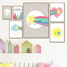 Sun Moon Stars Rainbow Wall Art Print Canvas Painting Nordic Canvas Poster And Prints Wall Pictures Kids Room Home Decor макнот джудит макнот нов ночные шорохи