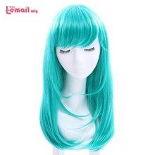L email peruk kadınlar için uzun düz Cosplay peruk 10 renk siyah pembe yeşil peruk isıya dayanıklı sentetik saç Cosplay peruk cadılar bayramı