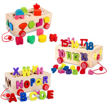 Baby Toy Color Digital letter Shape Pairing Log Board Hauling Cart Children Early Education Wooden Toys For Children Kids Gift