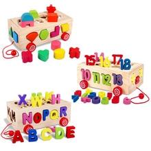 Детские игрушки цвет цифровой письмо форма сопряжения отчет Совета подъемная тележка для ребенка раннего образования деревянные игрушки для детей подарок