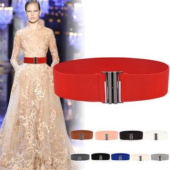 Fashion Lady Wide Belts Women Wide Elastic Belt Buckle Waist Dress Stretch Nylon Cinch Belt Waistban