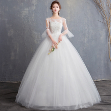 Vestido De Noiva 2019 Half Sleeve O Neck Wedding Dress Ball Gown Strapless Lace Dubai Arabic Ivory Bride Vestidos Novia