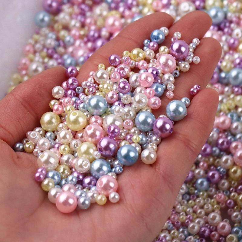 150-200 sztuk/paczka Mix rozmiar 3/4/5/6/8mm koraliki z otworem kolorowe perły okrągłe akrylowe imitacja perły DIY do tworzenia biżuterii Craft