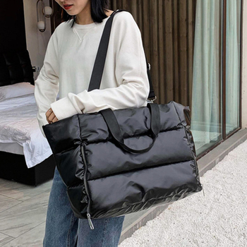Winter Large Capacity Tote Shoulder Bag for Women 2021 Waterproof Nylon Bags Space Pad Cotton Feather Down Big Female Handbags