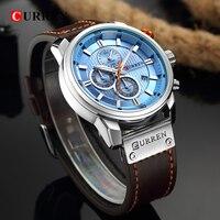 CURREN Luxus Marke Uhren Männer Chronograph Männer Sport Uhren Hohe Qualität Lederband Quarz Armbanduhr Relogio Masculino-in Quarz-Uhren aus Uhren bei