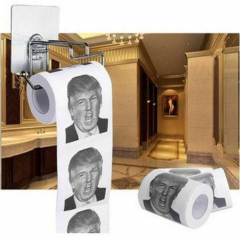 цена 2020 New Hot Funny President Donald Trump Humor Novelty Roll Prank Gag Joke Joke Toilet Bathroom Kitchen Prank Paper Dropship онлайн в 2017 году
