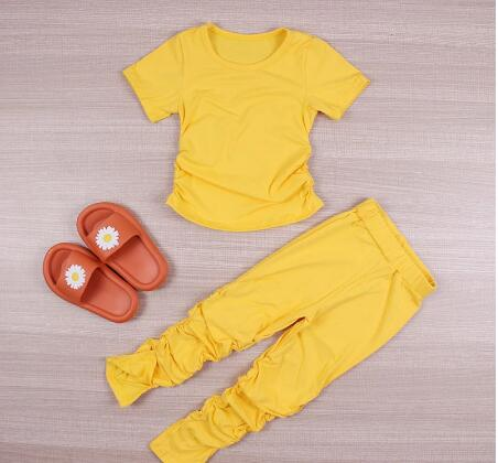 Kids Set Open Back Hooded Puff Sleeve Tops Stacked Slit Pants Suit Active Wear Tracksuit Two Piece Set Fitness Outfit girls 6
