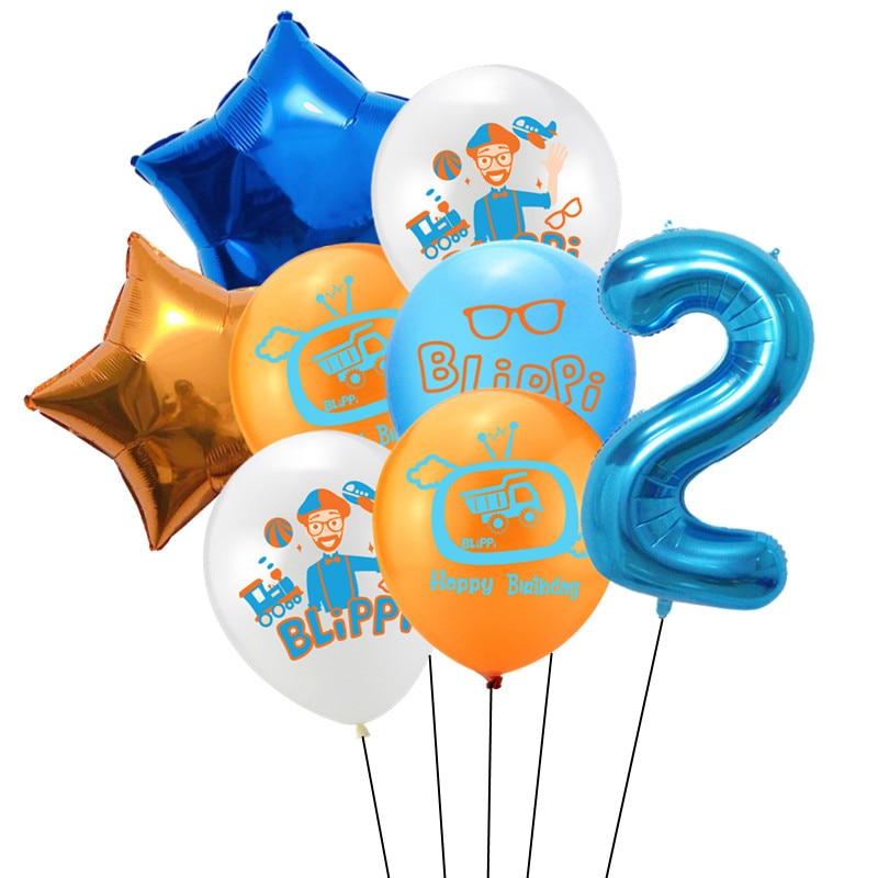 8 шт Blippi Фольга Шар 32 дюймов синий номер латексные воздушные шары с днем рождения Свадебная вечеринка украшения поставки детского дня рождения-2