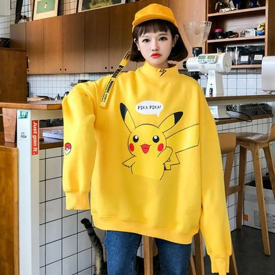 2018 Autumn Large Hoody South Korea CHIC-Style Cartoon Pikachu Printed Small High Collar Plus Velvet Hoodie Couple Clothes