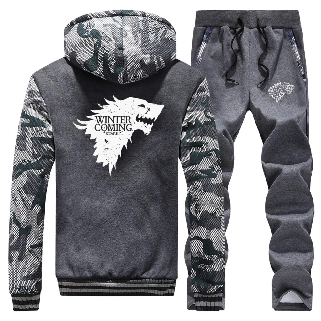 Game Of Thrones Wolf Coat Men Winter Is Coming Thick Camouflage Hoodie Brand Warm Mens 2 Piece Suit Sports Jacket Tracksuit Male