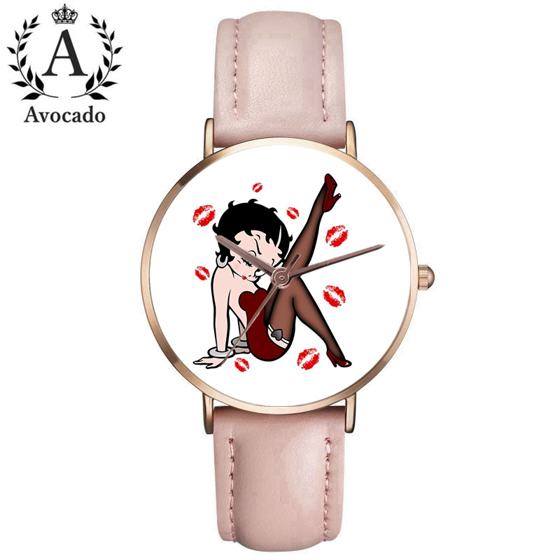 New WristWatch For Women Ladies Leather Watch Band Betty Boop Pattern Stylish Watches Casual Reloj