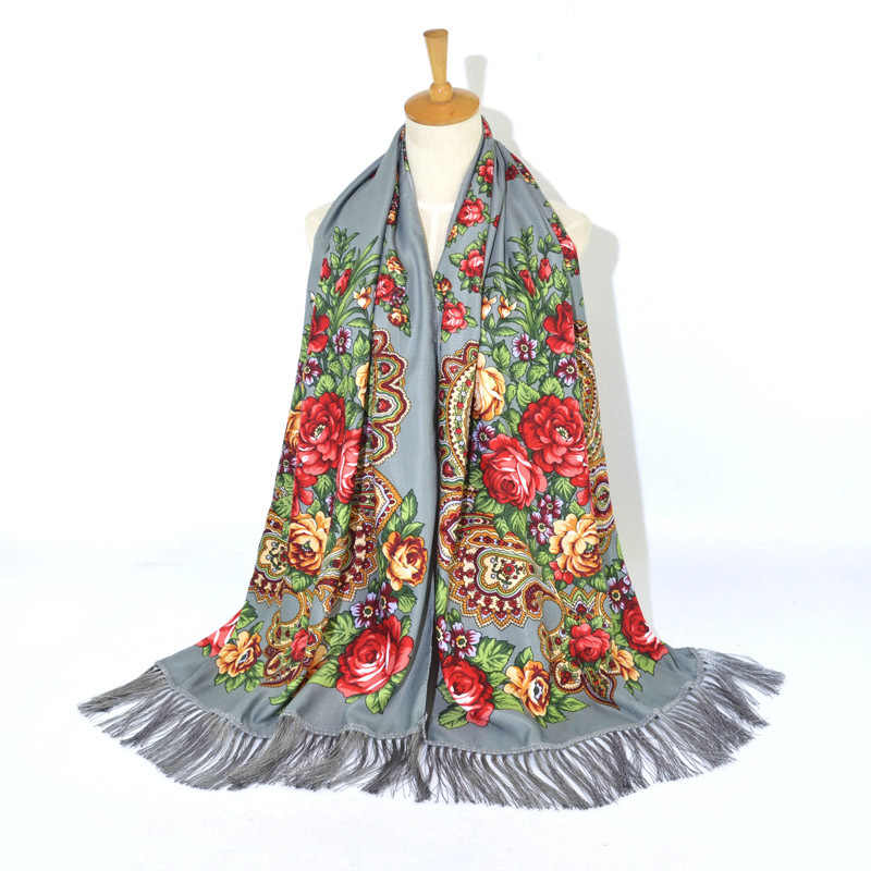 Wanita Syal Musim Dingin Selendang Wanita Rusia Babushka Panjang Hijab Pola Bunga Shawl Retro Ukraina Bahasa Polandia Rumbai Spanyol Syal