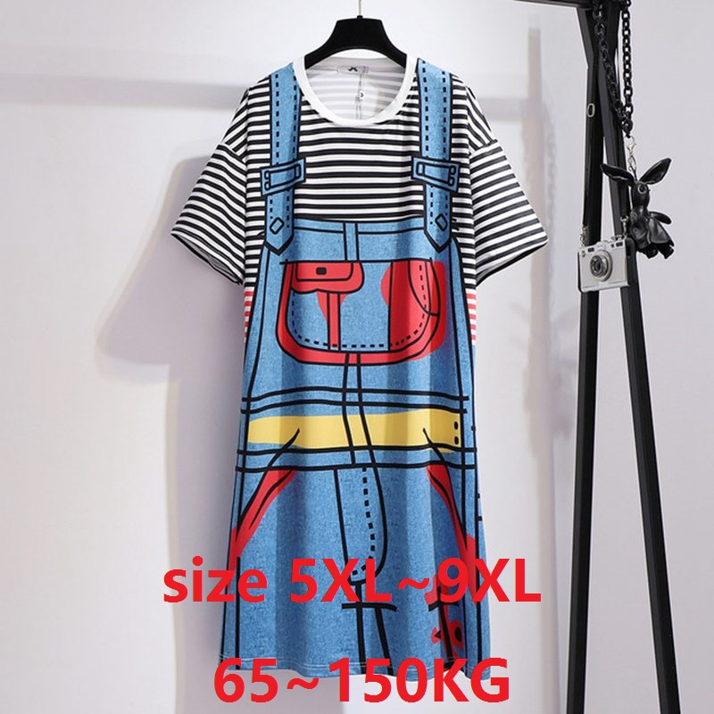 <font><b>Women</b></font> Black Dress <font><b>Plus</b></font> <font><b>Size</b></font> 6XL <font><b>7XL</b></font> 8XL 9XL 100KG 150KG Summer loose t-shirt Dress Striped Fake two pieces thin dress image