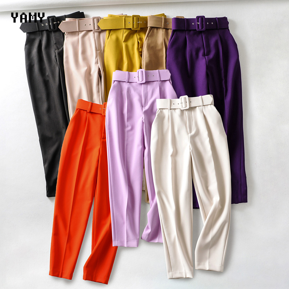 8 Colors Womens High Waist Trousers With Belt Lavender Orange Casual Office Lady Pants Zoravicky Womens Winter Pants Trousers