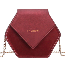 цена на MONNET CAUTHY Autumn New Bags for Women Fashion Vintage Style Creative Hexagon Crossbody Bag Solid Color Wine Red Black Flap