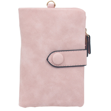 Portable Zipper Pocket Fashion Casual Vintage Solid Short Handbag Women Wallet Card Holder PU Leather Multifunction Tri-fold