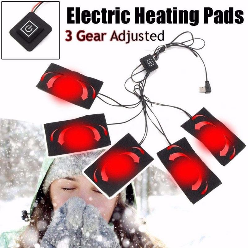Electric Heating Pad USB Clothing Warmer Tool Winter Clothes Heater Durable Black Cushion Mobile Warm Gear Vest Pads