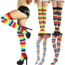Women Rainbow Winter Warm Cable Long Boot Socks Over Knee Thigh High Stockings High Knee Socks Long Stockings best sale 2019(China)