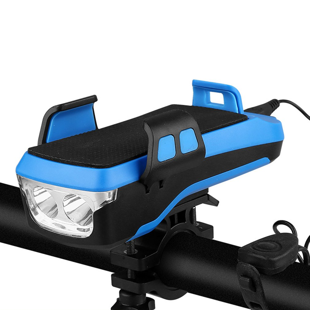 "4 in 1 Bicycle LED Front Light with Bike Horn 4-6.5/"" Phone Holder Powerbank USB"