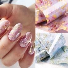Фольга для ногтей мраморная серия розовая синяя фольга бумага
