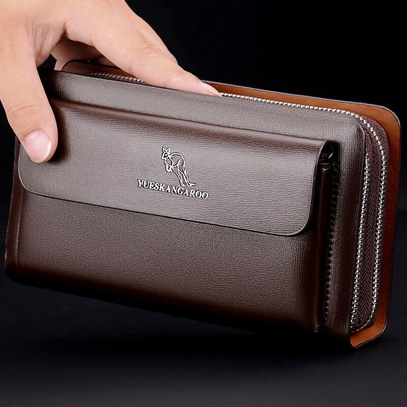 YUESKANGAROO Men Clutch Bag Fashion Long Purse Double Zipper Business Wallet Male Casual Bag