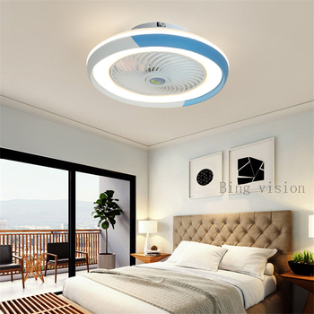 220v 110v Nordic Suction dome light fan lamp with remote control indoor home decoration smart ceiling fan with modern LED