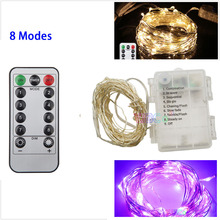 5M 10M 50/100 LEDs Silver Wire Christmas LED String Light Fairy Garland Waterproof With 8 Modes Remote Battery box/USB Powered usb 10m 8 modes 100 led string light christmas waterproof copper wire led string fairy light battery powered remote control