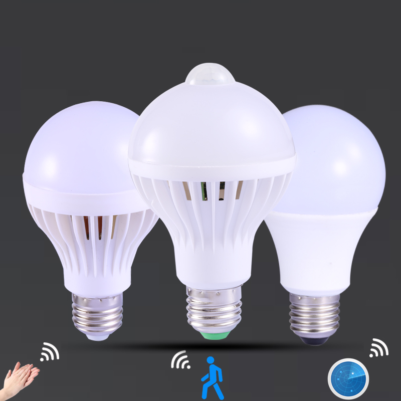 LED Bulb PIR Motion Sensor Bulb E27 AC 220V Auto Smart Led Lamp Sound Radar Sensor 3W 5W 7W 9W Stair Hallway Night Light White