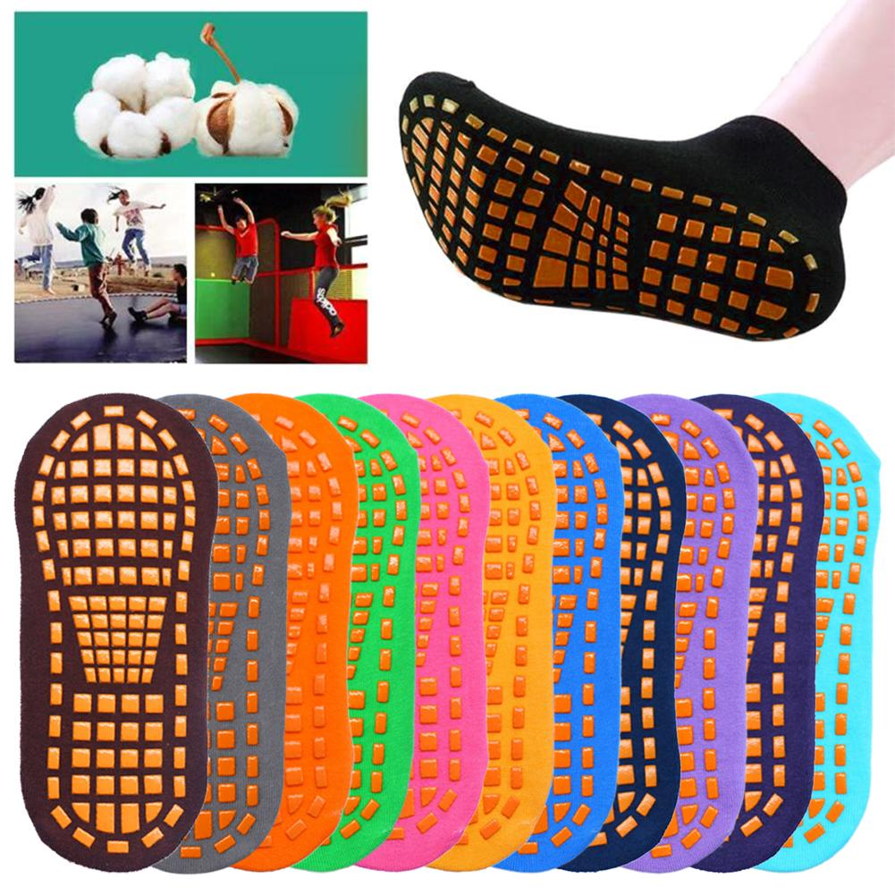 1Pair Adult Professional Anti Skid Yoga Trampoline Playground Sports Breathable Cotton Floor Socks Sweat-absorbent Pilates Socks