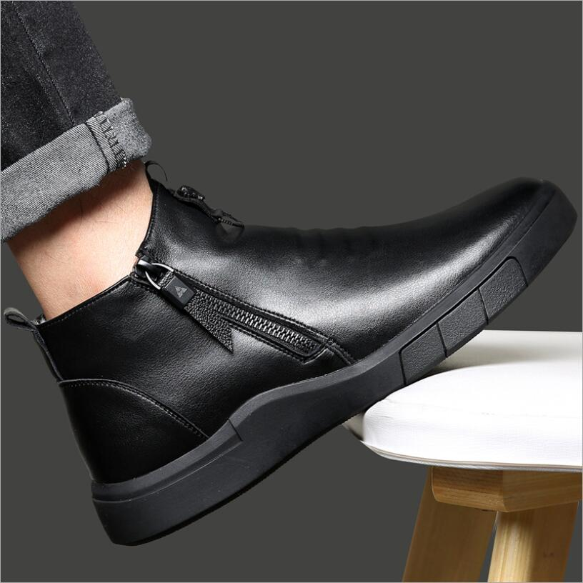 CS809 Designer Men Boots Genuine Leather 100%wool Lining Winter Super Keep Warm Casual Fashion Ankle Snow Zapatos De Hombre